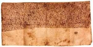 Fragmento do mais antigo documento régio na nossa língua, o testamento do terceiro rei de Portugal, Dom Afonso II.