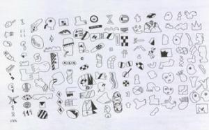 Fig. 3- © José de Guimarães, Alfabeto de Símbolos, 1970-1972. Desenhos sobre papel com tinta da china.