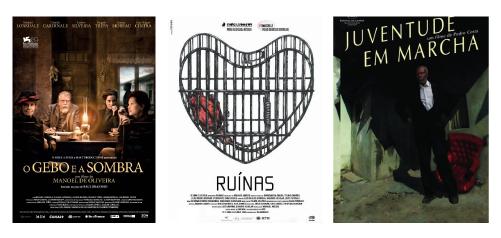 """Cartazes """"O Gebo e a Sombra"""", Manoel de oliveira, 2012; """"Ruinas"""" de Manuel Mozos, 2009 e  """"Juventude em Marcha de Pedro Costa, 2006"""